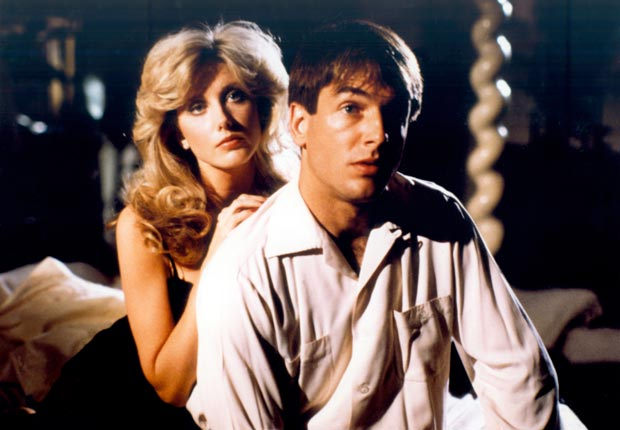 Mark Harmon and Barbara Rush on set filming an episode of Flamingo Road, 1982. For Mark Harmon through the years slideshow.