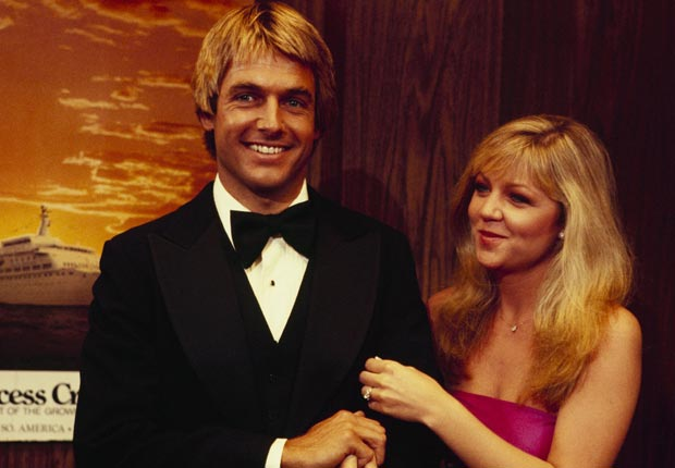 Mark Harmon and co-star Lisa Hartman in an episode of The Love Boat in September, 1979. For Mark Harmon Through the Years slideshow.