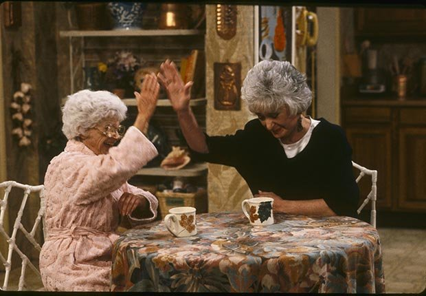 Estelle Getty and Bea Arthur star in the Golden Girls.