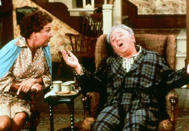 Jean Stapleton and Carroll O'Connor as Edith and Archie Bunker in All In The Family. For the Best Comedy Shows slide show.