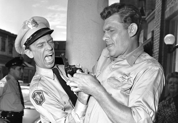Actors Don Knotts (left) and Andy Griffith during an episode of 'The Andy Griffith Show.'For the Best Comedy Shows slide show.