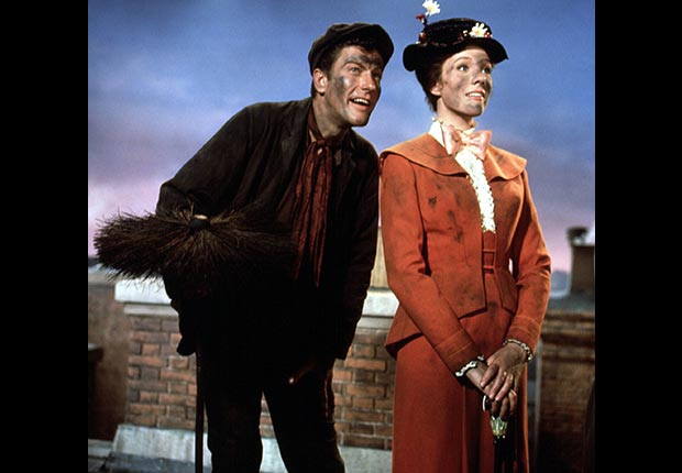 Dick Van Dyke and Julie Andrews in Mary Poppins, 1964.