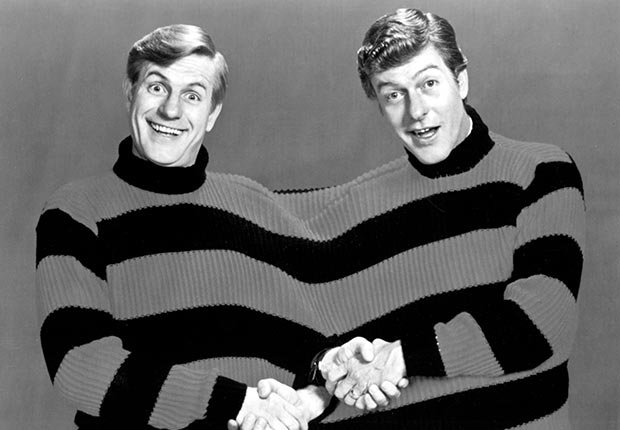 Brothers Jerry Van Dyke and Dick Van Dyke in a sweater.