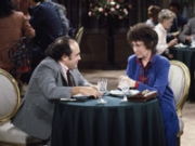 Danny DeVito as Louie De Palma and Rhea Perlman as Zena Sherman on TAXI