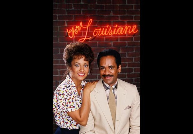 Actor, producer and director Tim Reid poses with his wife Daphne Reid, on the 1987 set of TV's Frank's Place.