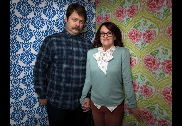 Actors Nick Offerman, left, and Megan Mullally, from the film Smashed, pose for a portrait during the 2012 Sundance Film Festival