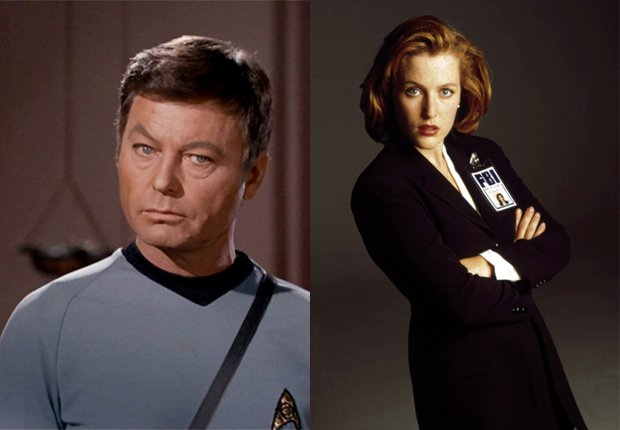 Bones McCoy (DeForest Kelley - izquierda) y Dana Scully (Gillian Anderson - derecha) - Doctores favoritos de TV.