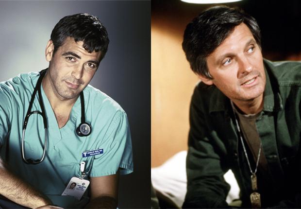 Doug Ross (George Clooney - izquierda) y Benjamin Franklin 'Hawkeye' Pierce (Alan Alda- derecha) - Doctores favoritos de TV.