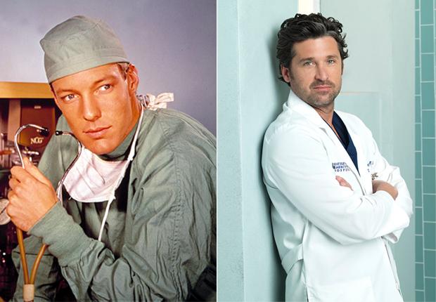 Richard Chamberlain (izquierda) como el Dr. Dr. Kildare y Patrick Dempsey (derecha) como el Dr. Derek Shepherd - Doctores favoritos de TV.
