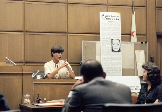 Actress Carol Burnett takes the stand during a trail involving the National Enquirer