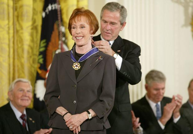 Carol Burnett and President George W. Bush at the Freedom Awards Ceremony at the White House 2005