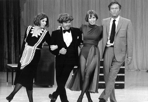 Vicki Lawrence, Tim Conway, Carol Burnett, and Harvey Korman appear on The Carol Burnett Show