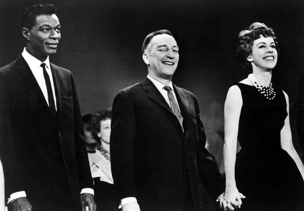 Nat King Cole, Garry Moore, and Carol Burnett appear on the Garry Moore Show, 1962