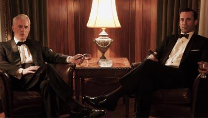 John Slattery and Jon Hamm in Mad Men