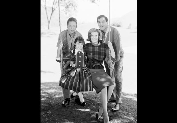 Rusty Hamer and Angela Cartwright with Danny Thomas and Marjorie Lord in the Danny Thomas Show, Child stars (CBS/Getty Images)