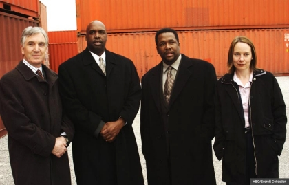 Robert F. Colesberry, Darryl Massey, Wendell Pierce, and Amy Ryan in The Wire. (HBO/Everett Collection)