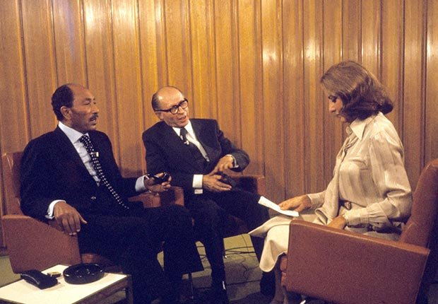 Barbara Walters arranged a joint interview with Egypt's President Anwar Sadat and Israel's Prime Minister Menachem Begin in November 1977. (ABC Photo Archives via Getty Image)