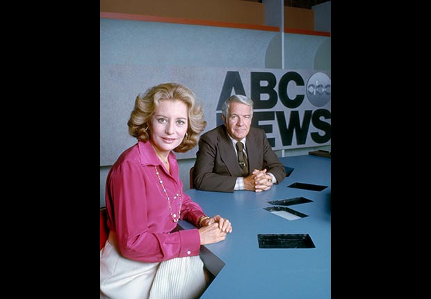 Barbara Walters joins Harry Reasoner to become the first woman to coanchor the ABC Evening News (ABC Photo Archives via Getty Images)
