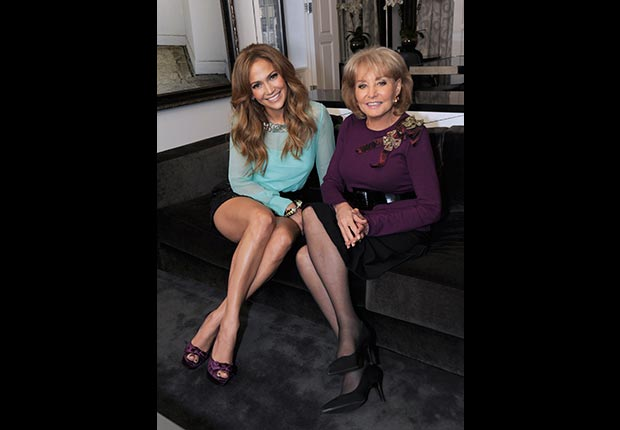 Jennifer Lopez is interviewed by Barbara Walters for Barbara Walters Presents: The 10 Most Fascinating People of 2010 (ABC via Getty Images)