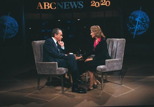 Barbara Walters interviewed Richard Nixon on ABC's newsmagazine 20/20. (Bettmann/CORBIS)