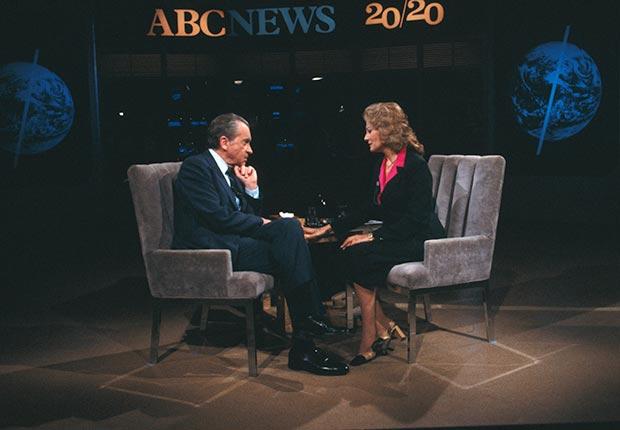 Barbara Walters interviewed Richard Nixon on ABC's newsmagazine 20/20. (Bettmann/CORBIS)