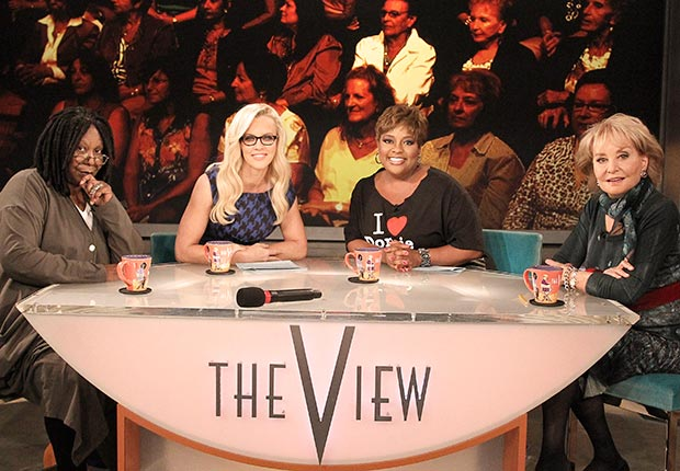 Walters, who created The View in 1997, began her final season with cohosts Whoopi Goldberg, Jenny McCarthy and Sherri Shepherd. (ABC via Getty Images)