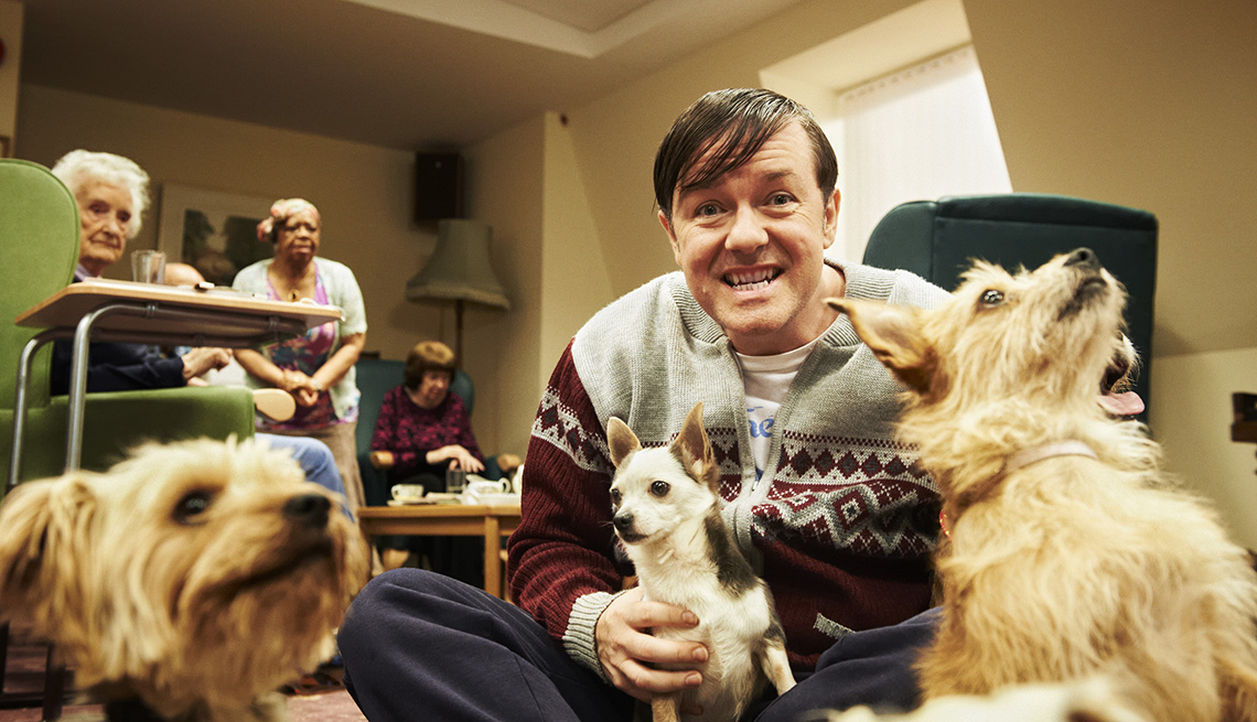 Ricky Gervais, dogs, Derek, Binge Worthy TV