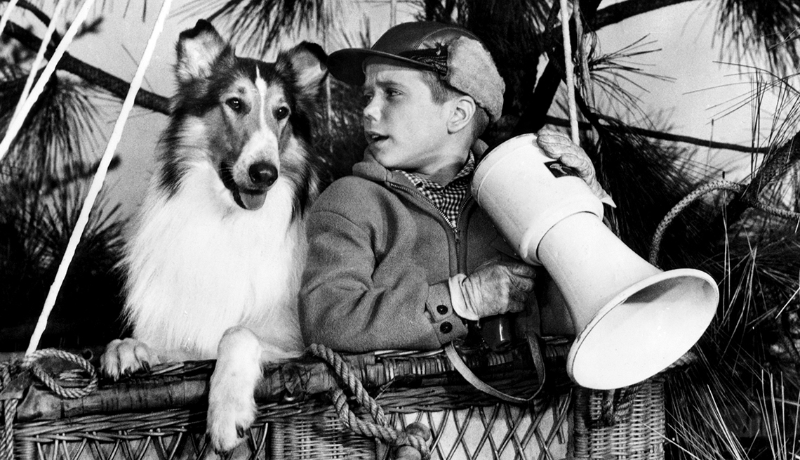 La perra Lassie y Timmy en un globo