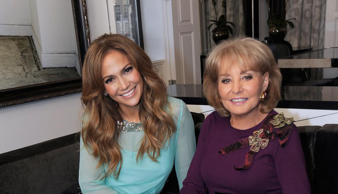 Entrevistas famosos de Barbara Walters - En la foto con Jennifer López