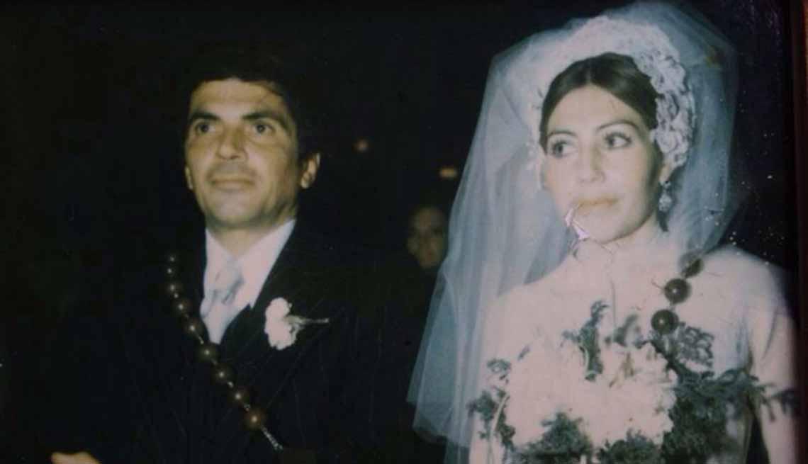 Eugenio Rodríguez Del Corte y María del Refugio Terrazas Lopéz, padres de Gino del Corte en el día de su matrimonio
