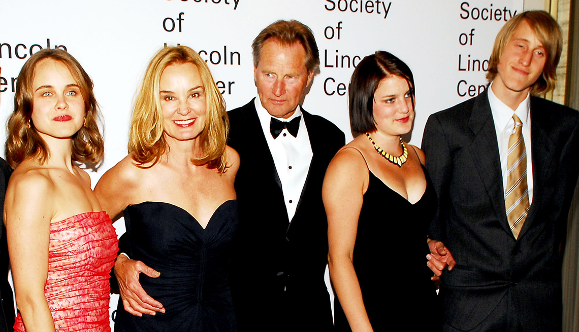 Left to right: Shura Baryshnikov, Jessica Lange, Sam Shepard, Hannah Shepard and Walker Shepard in 2006