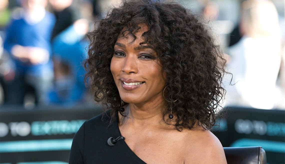 Angela Bassett during an interview on Extra
