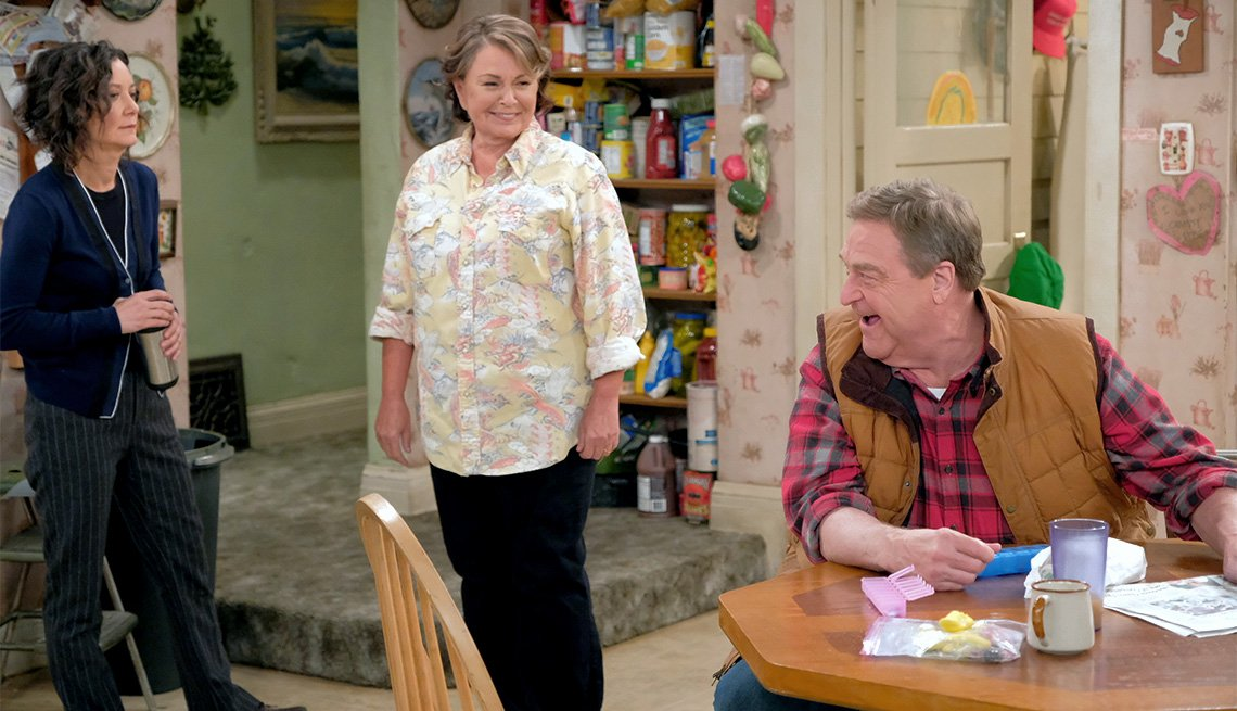 item 11, Gallery image. From left: Sara Gilbert, Roseanne Barr, John Goodman