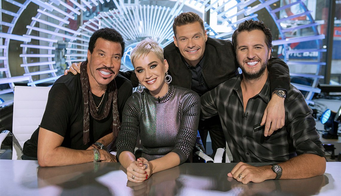 "item 5, Gallery image. ABC's ""American Idol"" judges Lionel Richie, Katy Perry and Luke Bryan with host Ryan Seacrest (back)"