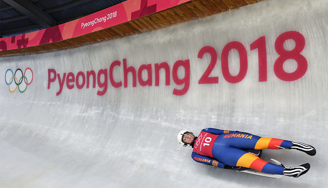 Luger Raluca Stramaturaru of Romania trains ahead of the PyeongChang 2018 Winter Olympic Games