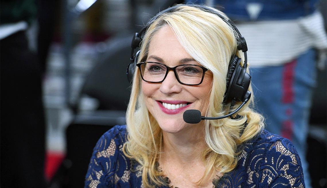 Doris Burke broadcasts after a preseason game