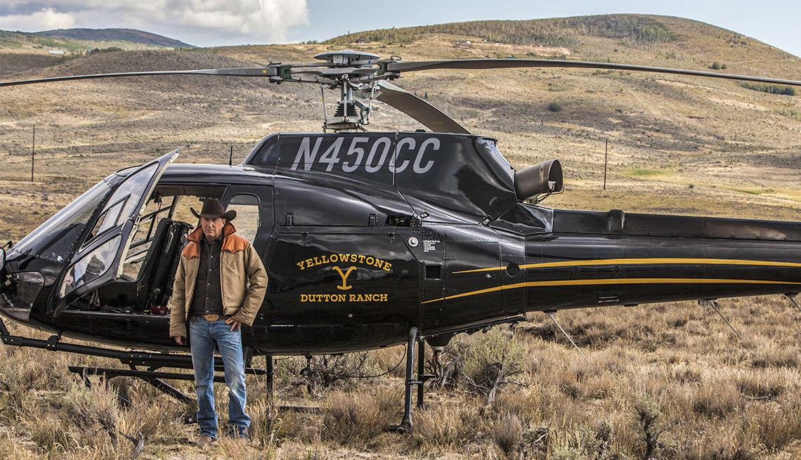item 11 of Gallery image - Kevin Costner's as John Dutton in front of the helicopter in Yellowstone