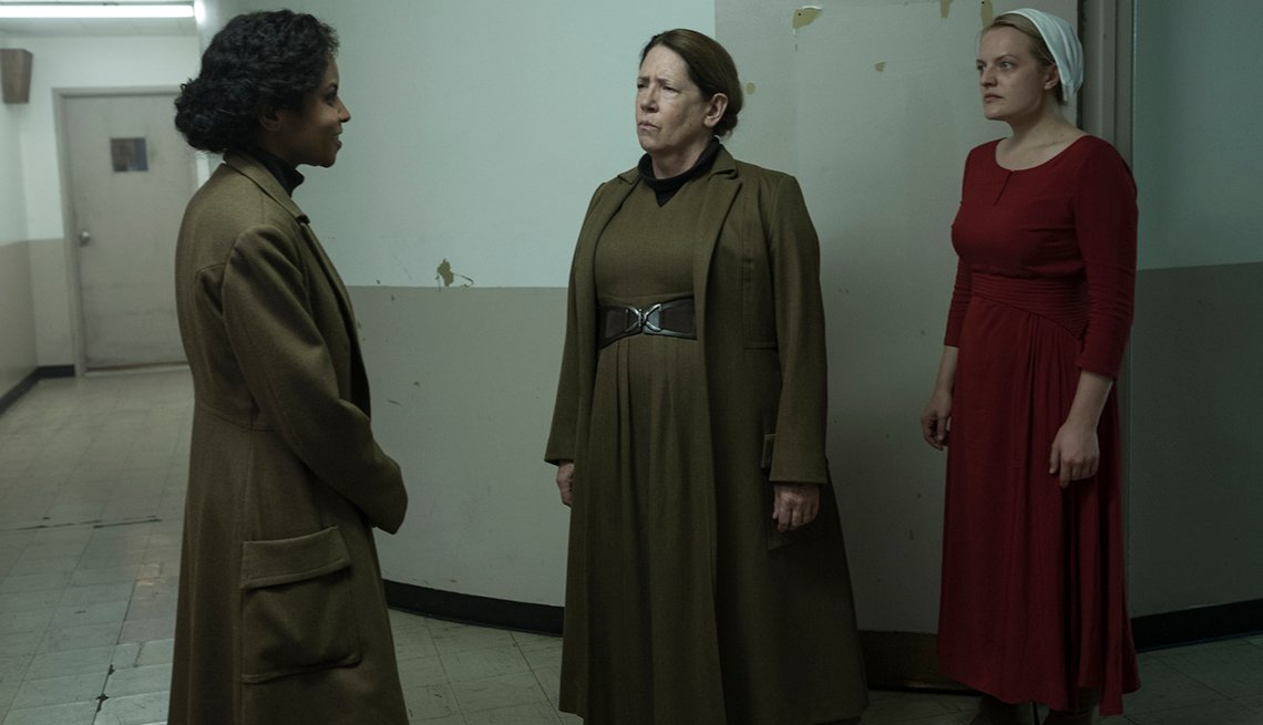 """A scene from """"The Handmaid's Tale"""" with Ipsita Paul, Ann Dowd and Elisabeth Moss playing Offred"""
