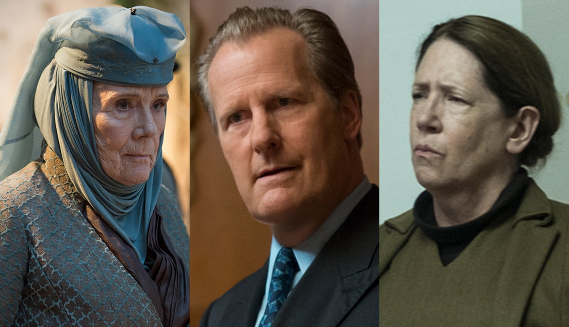 Photos of Diana Rigg, Jeff Daniels and Ann Dowd