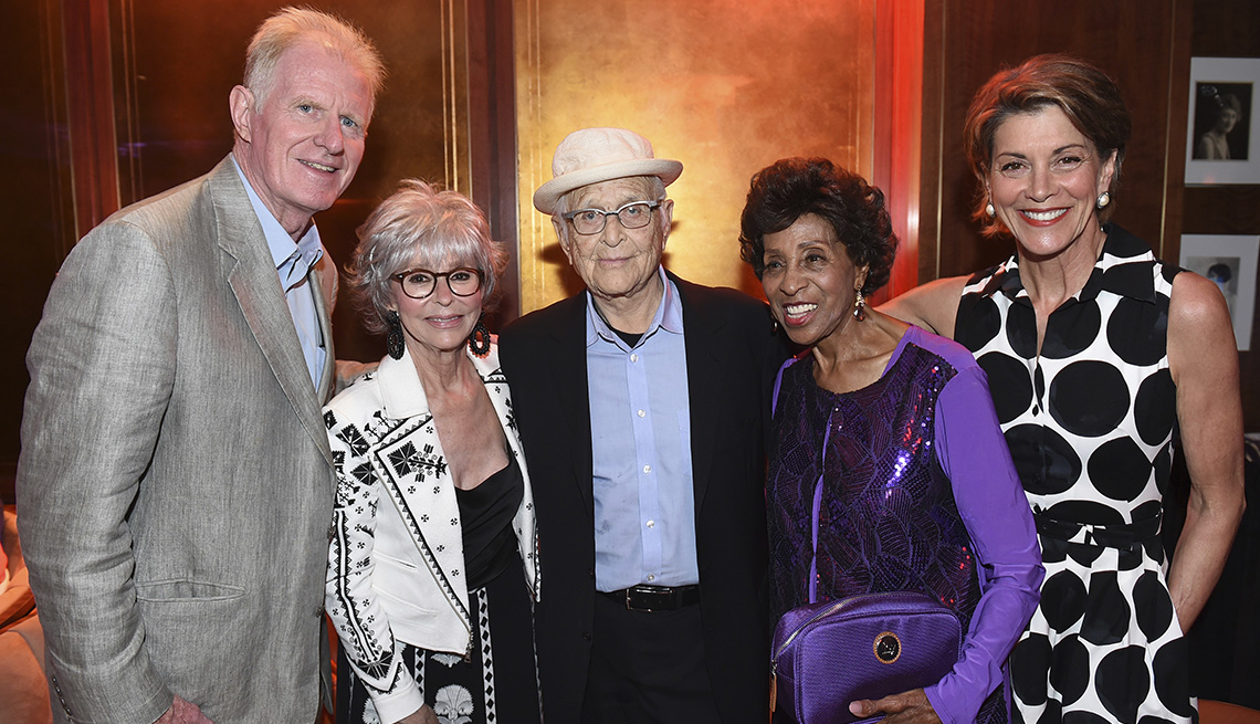 Ed Begley Jr., from left, Rita Moreno, Norman Lear, Marla Gibbs, and Wendie Malick at AARP's TV for Grownups Awards