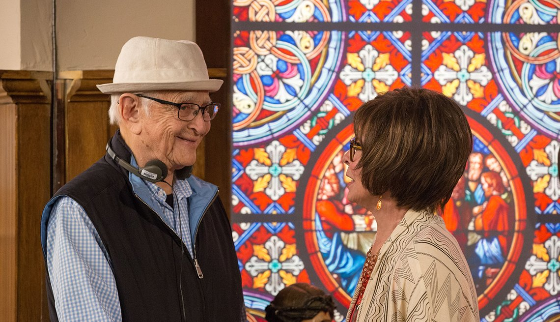 """Norman Lear and Rita Moreno on the set of the Netflix series """"One Day at a Time"""""""