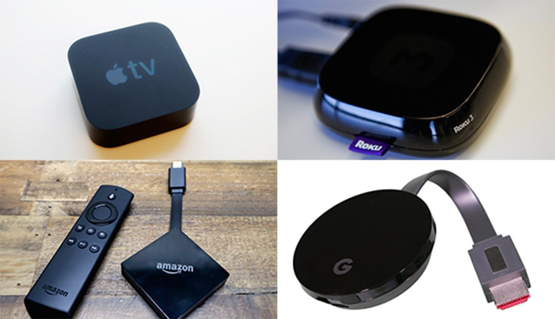 apple tv, amazon fire tv, roku y google chromecast