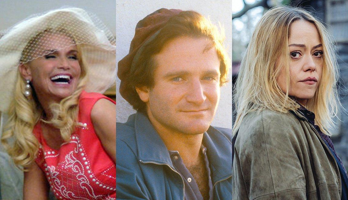 Three photos of Kristin Chenoweth, Robin Williams and Sian Reese Williams