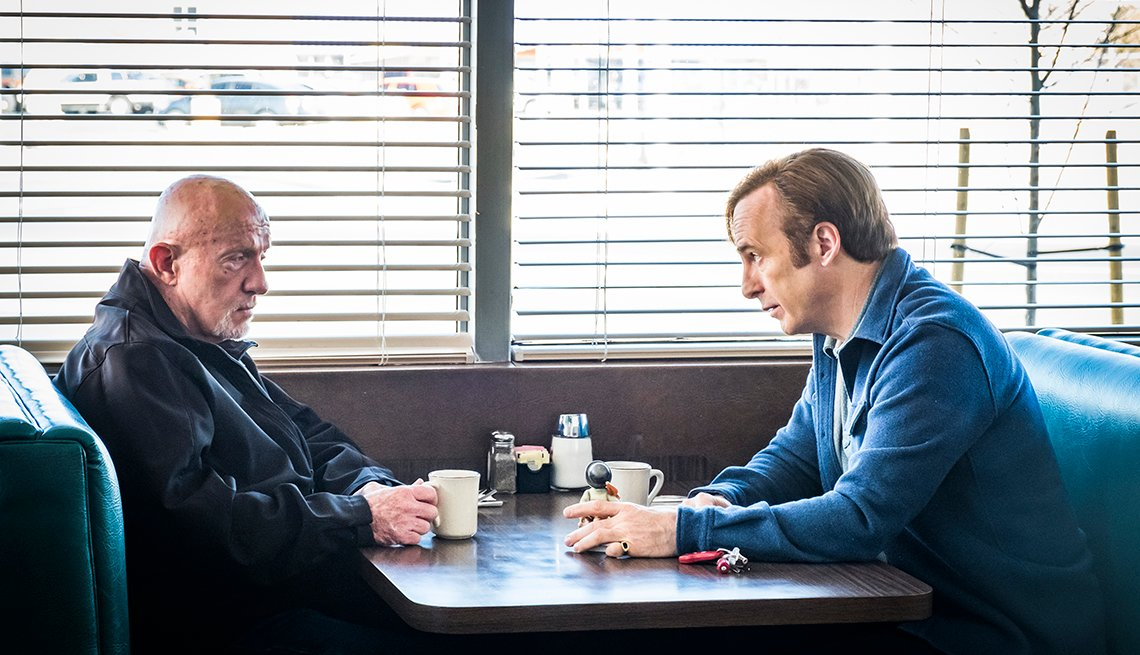Jonathan Banks as Mike Ehrmantraut, Bob Odenkirk as Jimmy McGill in AMC's