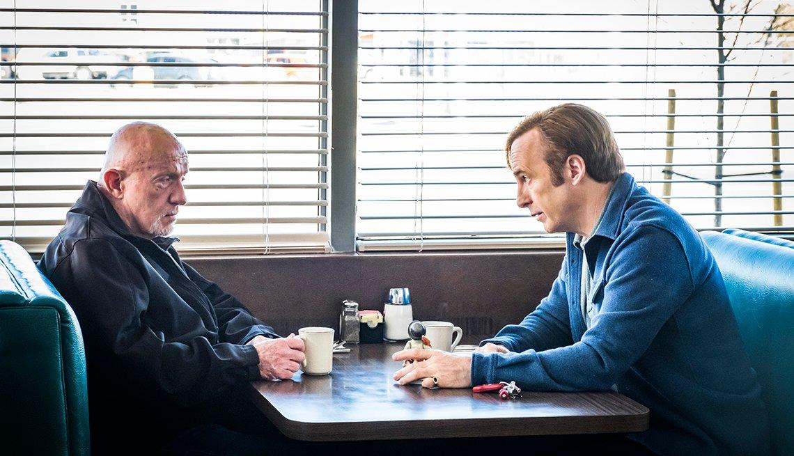 Jonathan Banks as Mike Ehrmantraut, Bob Odenkirk as Jimmy McGillin AMC's