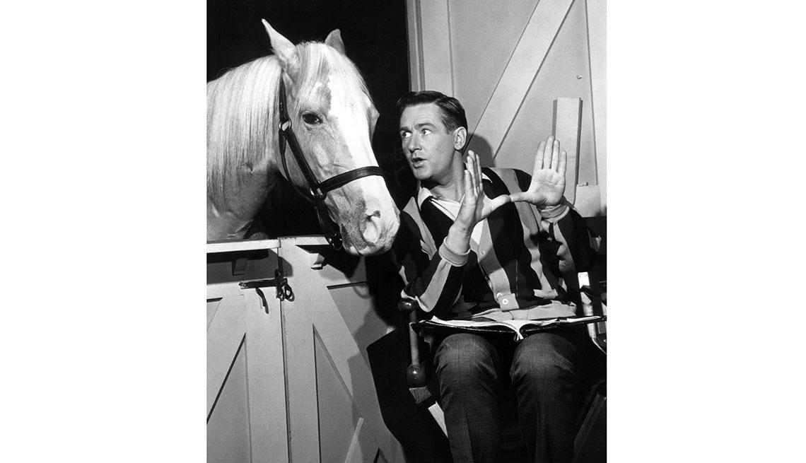 """Animales estrellas de cine y TV - Mister Ed con el actor Allan """"Rocky"""" Lane"""