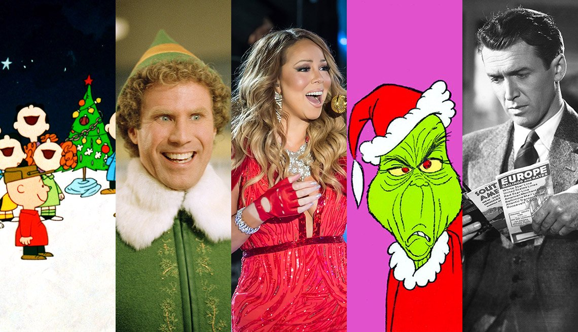 Charlie Brown Christmas, Elf, Mariah Carey, The Grinch, Jimmy Stewart