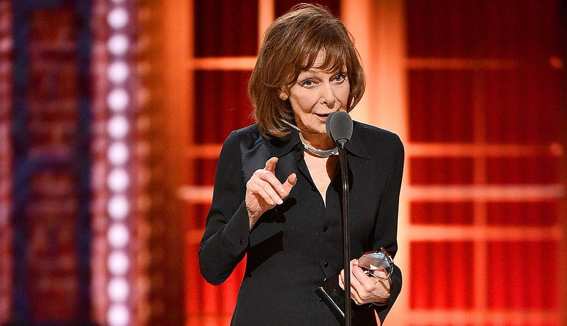 item 2, Gallery image. Elaine May accepts the Best Performance by an Actress in a Leading Role in a Play for The Waverly Gallery onstage during the 2019 Tony Awards.