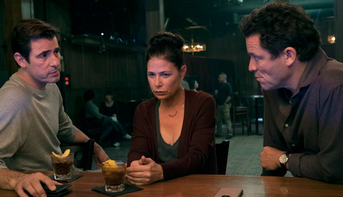 (L-R): Claes Bang as Sasha, Maura Tierney as Helen and Dominic West as Noah in THE AFFAIR,