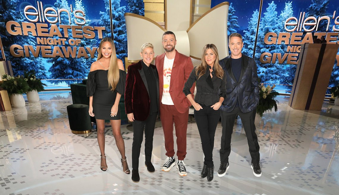 Ellen's Greatest Night of Giveaways: (l-r) Chrissy Teigen, Ellen DeGeneres, Justin Timberlake, Jennifer Aniston, Robert Downey Jr.